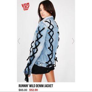 NWT Dollskill Lace Up Denim Trucker Jacket S/M
